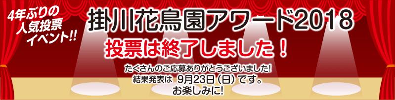 掛川花鳥園アワード2018 投票は終了しました!たくさんのご応募ありがとうございました!結果発表は9月23日(日)です。お楽しみに!